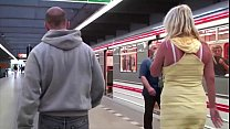 A hot blonde with big tits public sex subway tr...