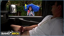 BANGBROS SCARLETT S WILD RIDE ON THE BANG BUS DURING A RAINY DAY