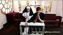 Blonde nun gangbang fucked by five dicks