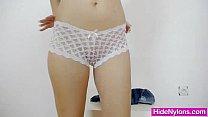 Blondie babe Gemma shows off red pantyhose