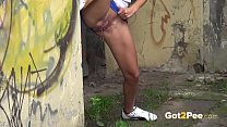 Got2Pee - Hot brunette relieves her pee desperation in the city