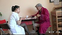 French old man Papy Voyeur doing a young asian nurse Image