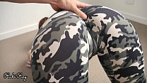 He Cums In My Panties and Smooth Pussy After Pulling Down My Camo Yoga Pants
