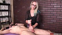 mean-Sexy blonde babe jerks off the tied man