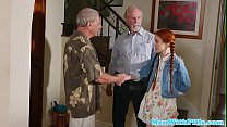 Petite ginger teen doggystyling oldmans cock Image