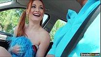 Redhead cheerleader Eva Berger fucks stranger for a ride