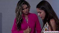 Lesbian babe seducing her hot lawyer