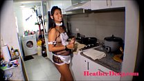 HD 19 week pregnant thai teen heather deep in maid outfits gives deepthroat and creamthroat in the kitchen thumbnail