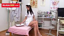 Bresty Alexa Bold opens her latex nurse uniform