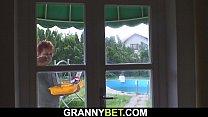 Image: Granny next door rides cock after blowjob