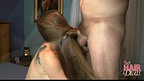 longhaired blonde milf gives a hair covered fac...
