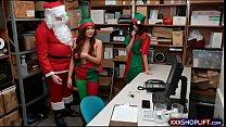 Santa Fucks Two Cute Shoplifter Teens