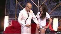 Hot brunette tranny Nina Lawless fucks the doctor on sofa