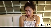 Asian girl provides her narrow bawdy cleft for a deep insertion