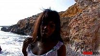Black slut with perfect body fucked at the beach thumb