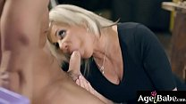 Older Woman Gagging On A Young Man Meat Making