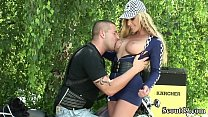 ROCKER MILF FUCK OUTDOOR WITH STRANGER AFTER PA...