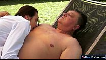Petite Ashley Woods gives bj and ride old mans cock outdoors