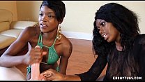 Two Ebonies Jerk Off A White Cock preview image