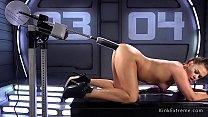 Brunette takes monster dildos up her ass