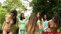 Asian college babe eaten out outdoors