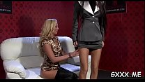 Pretty lesbian engages in some hot kissing and dildo play video