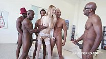 5on1 interracial - Tall glamour babe Belle Clai...