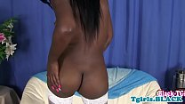 Black tranny masturbating in stockings