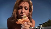 Lesbian threesome eat pussy outdoors thumbnail
