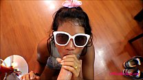 HD tiny thai teen oriental teen get huge facial on glasses