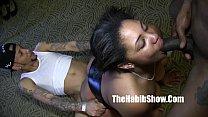 Ladybug Nasty ghetto hood freak getts spitted choked on group sex thumbnail