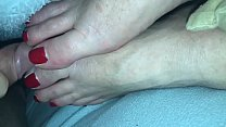Cumshot #2 on sleeping wife's feet Preview