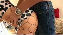 Sex in black fencenet pantyhose and high heels