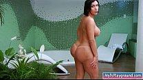 Big boobs tranny shows off big ass and masturbates her cock