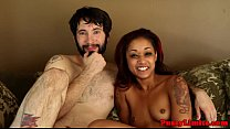 Inked black slut dominated with facefucking preview image