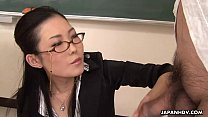 13982 Naughty teacher sucking off her stupid student's hard cock preview
