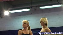 Lesbian orally pleasured in boxing ring