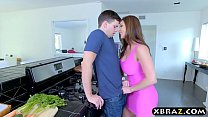 Wife cheats on husband with his friend in the kitchen