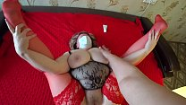 Mature bbw in stockings shakes a big butt in panties, and a girlfriend fucks her, lesbians POV. thumbnail