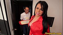 Latina tranny in racy red stockings assfucked