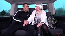 Cheap milf whore with fake hair wrecked by muscle stranger in driving van image