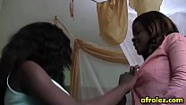 Black lesbians having hot sex on bed