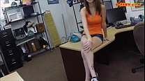 Pretty amateur babe in glasses railed at the pawnshop