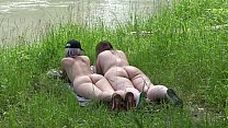 Voyeur outdoors peeps at two naked lesbians. Nu...