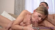 Blonde grandma takes cum