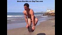 Naked beach  hunk goes rafting.