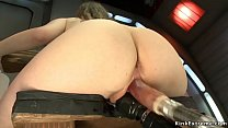 Babe fucks machine in various positions
