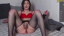 Sissy Lucy Cums In Chastity And Eats It