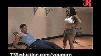 Hot TS girl fucking bi curious guy in a gym