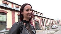 Eager brunette offered cash by stranger